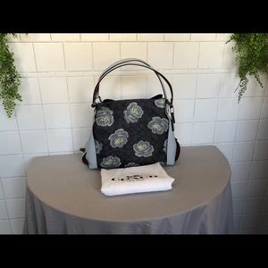 Coach shoulder bag sig navy floral print